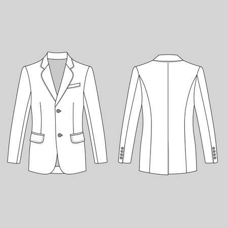 lapels: Long sleeve mans buttoned jacket outlined template (front & back view), vector illustration isolated on gray background