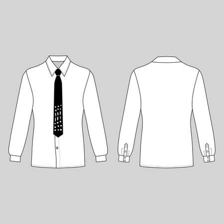 cuff: Long sleeve mans shirt & tie outlined template (front & back view), vector illustration isolated on grey background Illustration