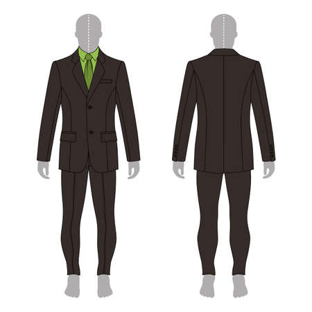 mans shirt: Full length mans grey silhouette figure in a single breasted suit (jacket & shirt & tie & skinny jeans) template (front & back view),  vector illustration isolated on white background Illustration