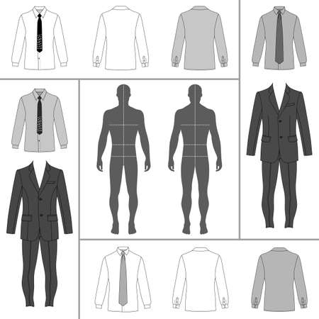 shirt and tie: Mens clothing outlined template set (single breasted suit, shirt, tie), vector illustration isolated on white background Illustration