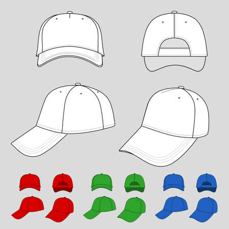 Baseball, tennis cap colored vector illustration featured front, back, side, top, bottom isolated on grey You can change the color or you can add your logo easily