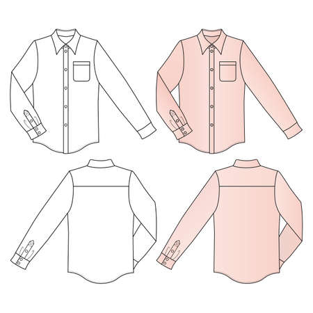 buttoned: Long sleeve mans buttoned shirt outlined template (front & back view), vector illustration isolated on white background Illustration