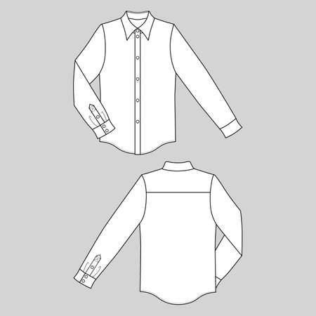 Long sleeve mans buttoned shirt outlined template (front & back view), vector illustration isolated on gray background