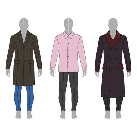 metal legs: Full length mans gray silhouette figure in a coat, shirt and skinny jeans template set (front & back view),  vector illustration isolated on white background