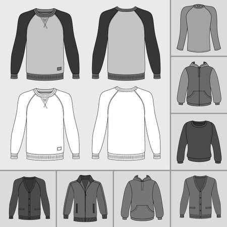 raglan: Mens clothing outlined template set front view (jacket, raglan t shirt, hoodie, sweatshirt, sports pullover),  vector illustration isolated on grey background