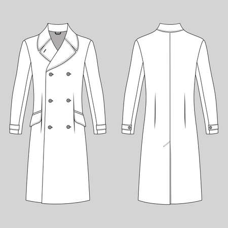 lapels: Mans coat outlined template (front & back view), vector illustration isolated on grey background Illustration