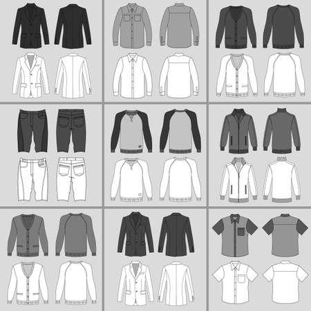 メンズアウター アウトライン テンプレート セット前面・背面 (ジャケット、シャツ、カーディガン、ショート パンツ、トレーナー、スポーツ プルオーバー)、ベクトル イラスト灰色の背景上で分離