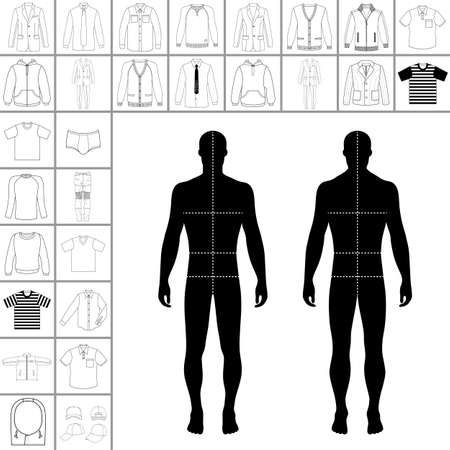 single man: Mens large clothing outlined template set (single breasted suit, shirt, pullover, hoodie, quilted jacket etc.)  & man croquis silhouette, vector illustration isolated on white background