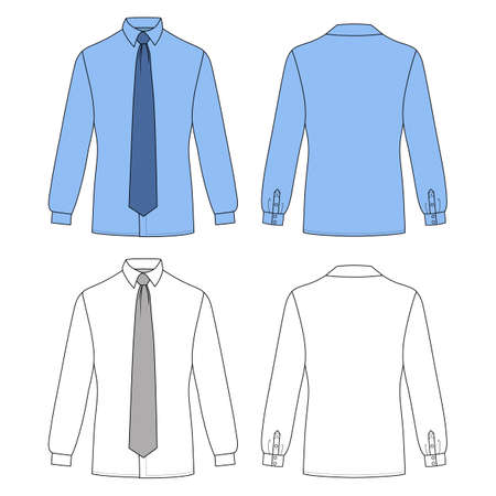 versatile: Long sleeve mans shirt & tie outlined template (front & back view), vector illustration isolated on white background Illustration