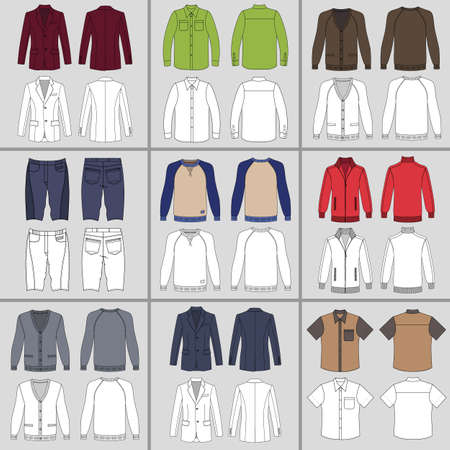 versatile: Mens clothing outlined template set front & back view (jacket, shirt, cardigan, shorts, sweatshirt, sports pullover), vector illustration isolated on grey background Illustration
