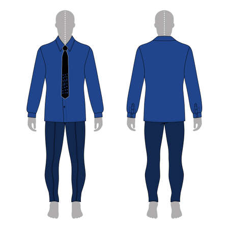 Full length man's gray silhouette figure in in a long sleeve buttoned shirt & tie and skinny jeans template (front & back view), vector illustration isolated on white background
