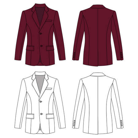 lapels: Long sleeve mans buttoned burgundy colored jacket outlined template (front & back view), vector illustration isolated on white background