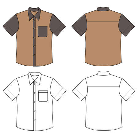 buttoned: Short sleeve mans buttoned shirt outlined template (front & back view), vector illustration isolated on white background