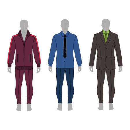 Full length man's gray silhouette figure in a suit, shirt and skinny jeans template set (front & back view), vector illustration isolated on white background Illustration