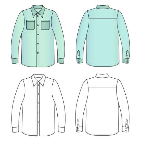 Long sleeve mans buttoned shirt outlined template (front & back view), vector illustration isolated on white background Illustration