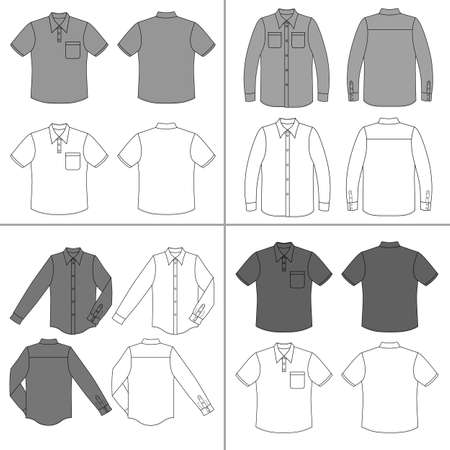 sleeved: Long, short sleeved mans buttoned shirt outlined template set (front & back view), vector illustration isolated on white background