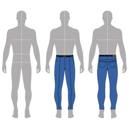 마른 청바지의 전체 길이 남자의 회색 실루엣 그림 (전면 및 후면보기), 벡터 일러스트 레이 션 흰색 배경에 고립