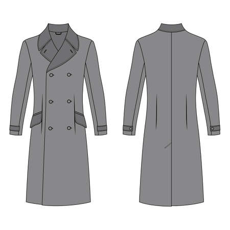 lapels: Mans coat outlined template (front & back view), vector illustration isolated on white background