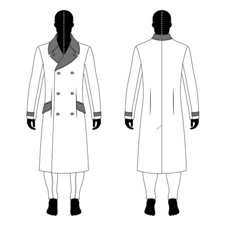 double breasted: Full length mans black silhouette figure in a cloak and skinny jeans template (front & back view),  vector illustration isolated on white background