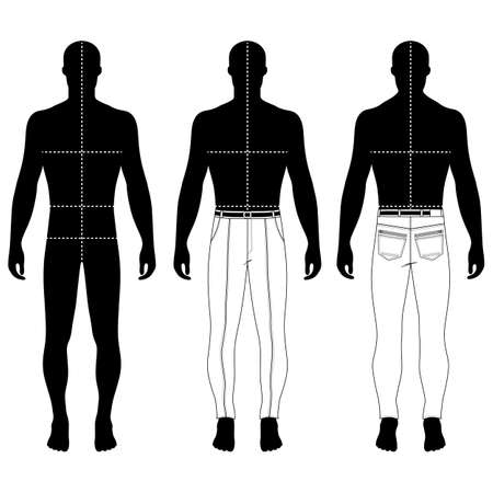 metal legs: Full length mans black silhouette figure in skinny jeans template (front & back view), vector illustration isolated on white background