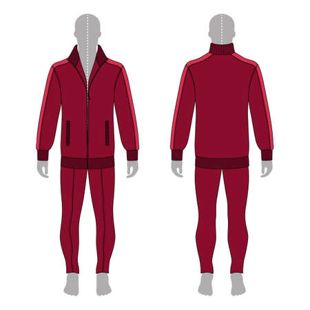 Full length man's grey silhouette figure in a burgundy jacket with zipper and skinny jeans template (front & back view), vector illustration isolated on white background Illustration