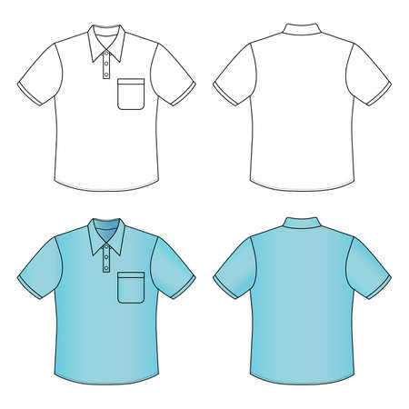 Short sleeve mans buttoned shirt outlined template (front & back view), vector illustration isolated on white background