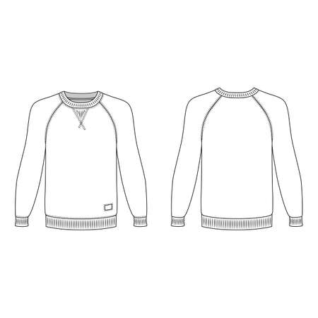 raglan: Raglan long sleeve t-shirt outlined template (front & back view), vector illustration isolated on white background Illustration
