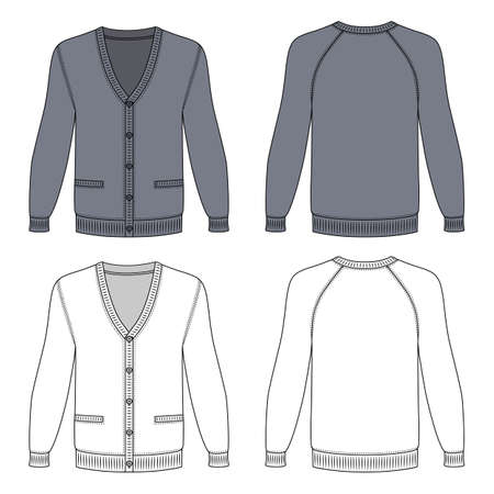 Blank long sleeve grey raglan cardigan outlined template (front & back view), vector illustration isolated on white background