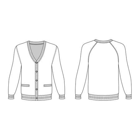 raglan: Blank long sleeve raglan cardigan outlined template (front & back view), vector illustration isolated on white background