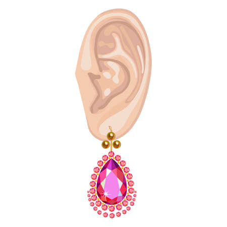 ear drop: Human ear with an hanging earring front view, vector illustration isolated on white background