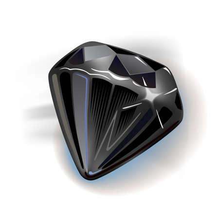 diamante negro: Negro de diamantes vista frontal, ilustración vectorial aislados en fondo blanco Vectores