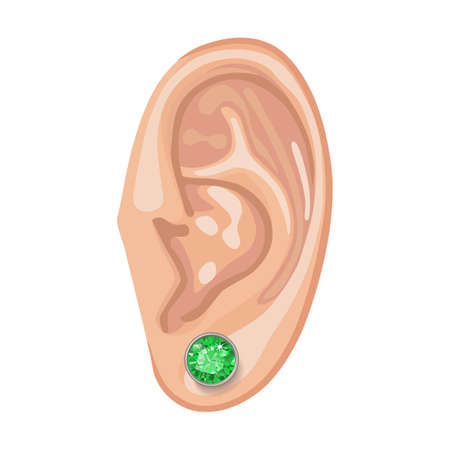peridot: Human ear with framed earring front view, vector illustration isolated on white background