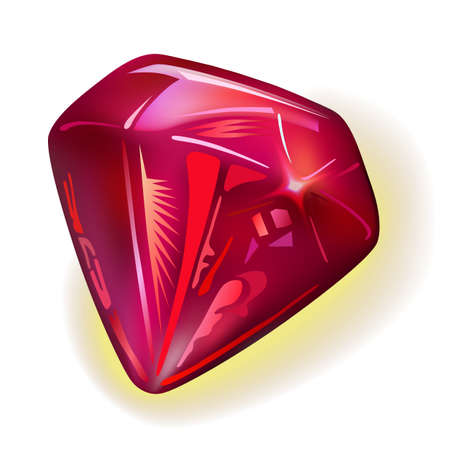 rubellite: Ruby front view, vector illustration isolated on white background