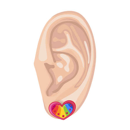 audition: Human ear with framed earring front view, vector illustration isolated on white background