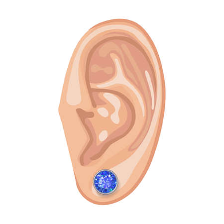 bezel: Human ear with framed earring front view, vector illustration isolated on white background