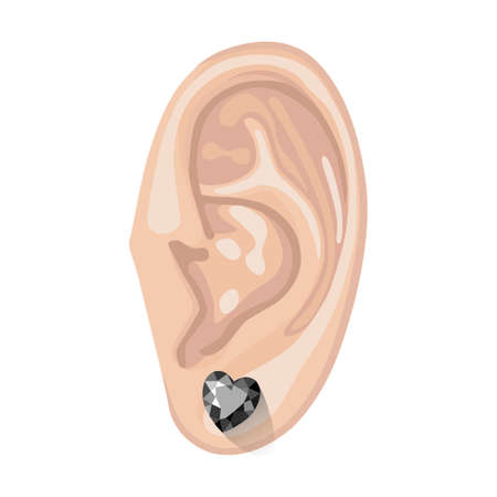 Human ear with an hanging earring front view, vector illustration isolated on white background