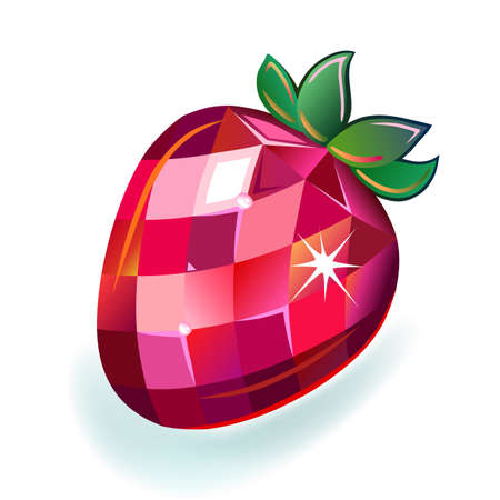 rubellite: Jewelry strawberry front view, vector illustration isolated on white background