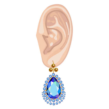 audition: Human ear with an hanging earring front view, vector illustration isolated on white background