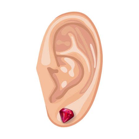 rubellite: Human ear with an hanging earring front view, vector illustration isolated on white background