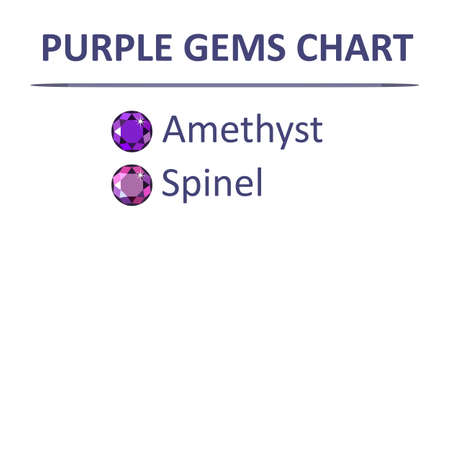 hue: Low poly popular gems purple color graduation chart infographics, vector illustration isolated on white