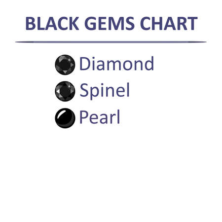 spinel: Low poly popular gems black color graduation chart infographics, vector illustration isolated on white Illustration
