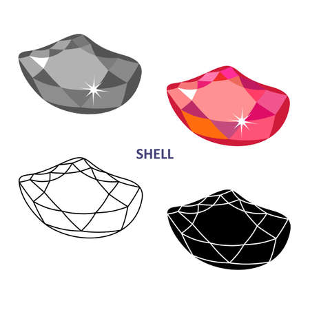 Low poly colored & black outline template fancy gem cut icons isolated on white background, vector illustration