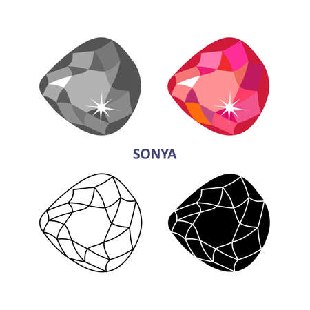 mineral stone: Low poly colored & black outline template fancy gem cut icons isolated on white background, vector illustration