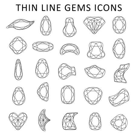 Low poly black thin line template fancy gem cut icons set isolated on white background, vector illustration