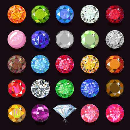 naming: Colored gems set naming, vector illustration isolated on dark background