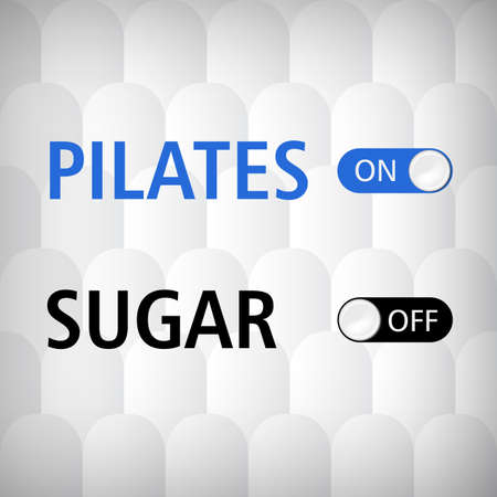 white sugar: Grey white seamless background and web-design switches Pilates, Sugar, vector illustration