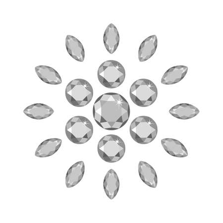 Scattered around gems isolated on white background, vector illustration