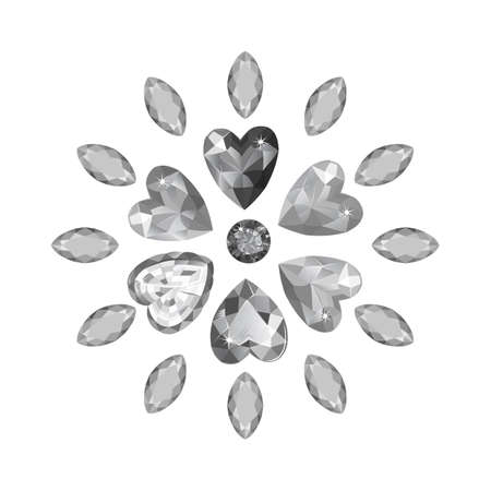 Texture of colored marquise & heart grey cut gems isolated on white background, vector illustration