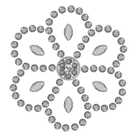 Texture of grey marquise & round cut gems isolated on white background, vector illustration