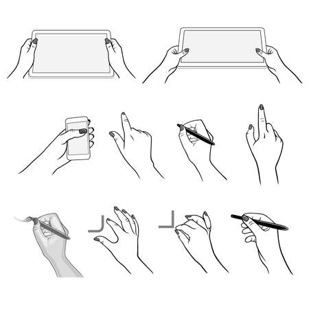 action girl: Holding hands with media player, tablet device (vector graphics), stylus pen drawing using application